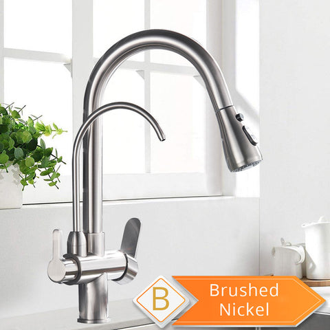 Three Way Kitchen Faucet Brushed Nickel