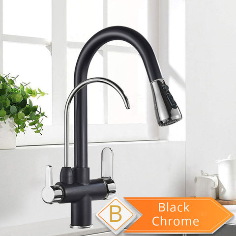 Three Way Kitchen Faucet Black & Silver