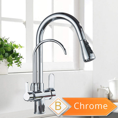 Image of Kitchen Faucet with Sprayer, Water Filter & Drinking Tap