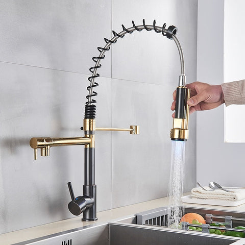 Image of LED Kitchen/Bathroom Faucet with Spring, Dual Pull Down Spout & Sprayer