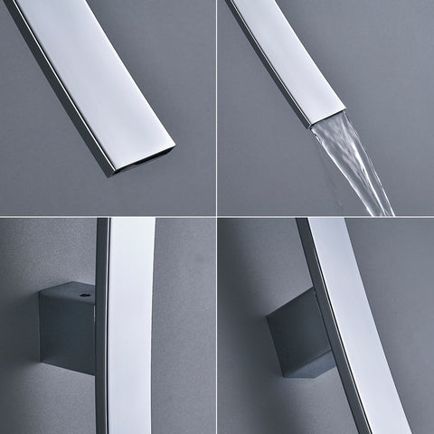 Wall Mounted Waterfall Basin Faucet Bathroom Mixer Tap