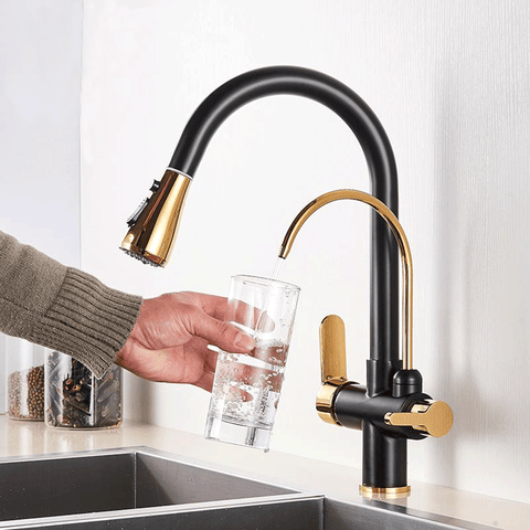 Three Way Kitchen Faucet Black & Gold