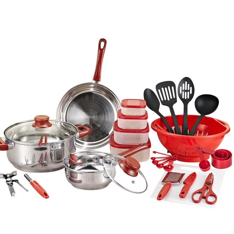 Cookware set Cooking Pots And Pans Set 35 Piece Kitchen Starter