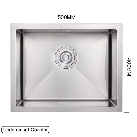 Image of Rectangular Stainless Steel Kitchen Sink Basin with Drain Basket and Drain Pipe