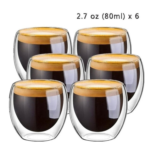 Heat-resistant Double Wall Glass Coffee Cups