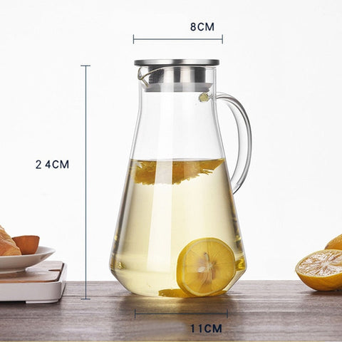 Image of Glass Water Pitcher with Lid & Filter, 1000ML - 1800ML