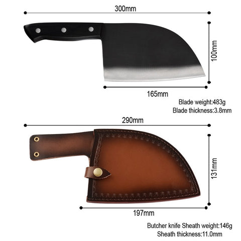 Image of Bone Chopper Full Tang Handle Butcher Knife