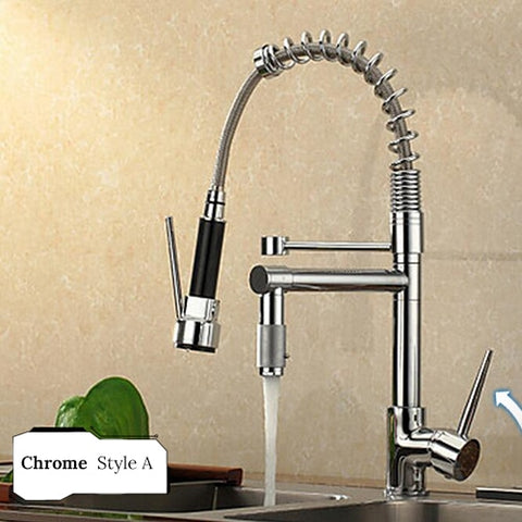 Image of Chrome Kitchen Faucet Pull Down Spout & Dual Sprayer, Swivel Tap