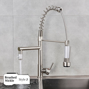 Chrome Kitchen Faucet Pull Down Spout & Dual Sprayer, Swivel Tap