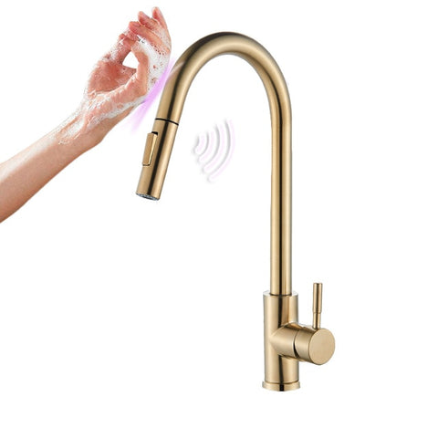 Touchless Kitchen Faucet Brushed Gold