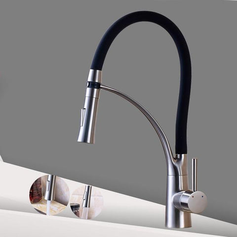 Image of Kitchen Sink Faucet Pull Down Swivel Spout Tap