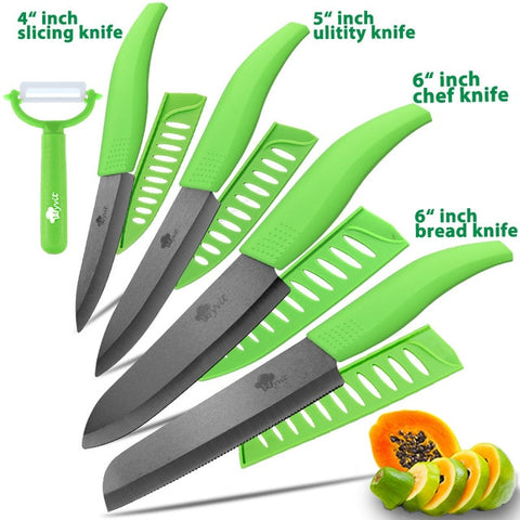 Image of Ceramic Kitchen Knives Serrated Bread Set
