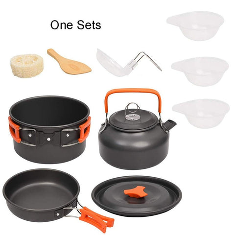 Image of Camping Cookware Kit Outdoor Aluminum Cooking Set