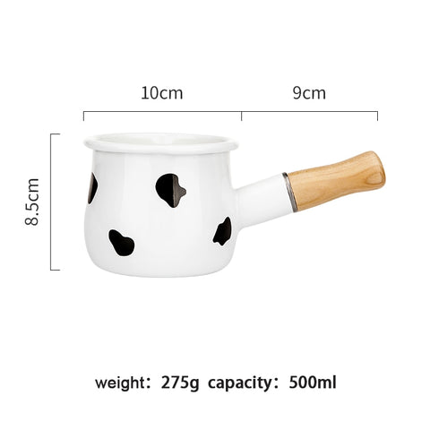 Image of 500ml Enamel Milk Pot With Wooden Handle