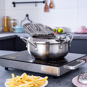 Deep Frying Pot with a Thermometer and a Lid