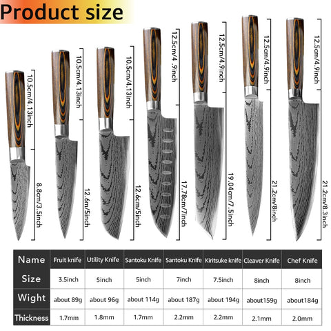 Damascus Steel Knives Set 7PC