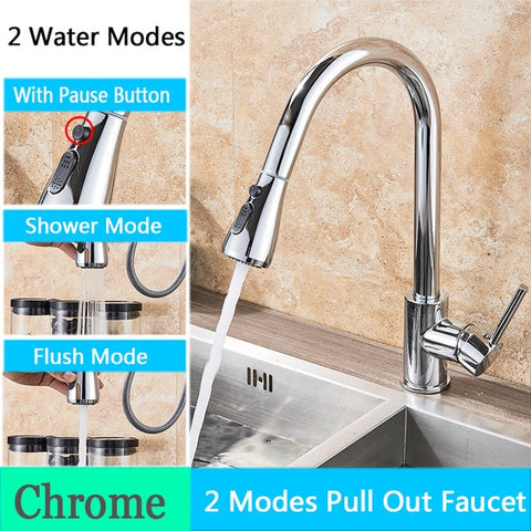 Kitchen Faucet with Pull Down Spout Chrome