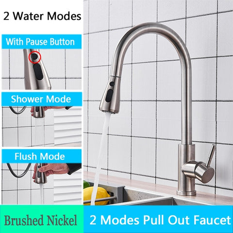 Kitchen Faucet with Pull Down Spout Brushed Nickel