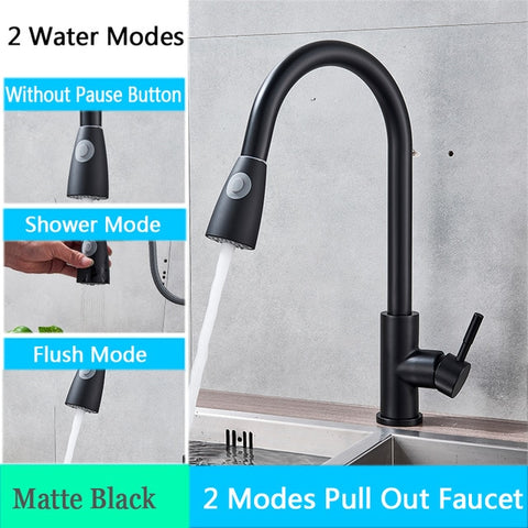 Image of Kitchen Faucet with Pull Down Spout Matte Black