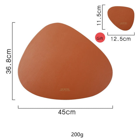 Image of Leather Heat Insulation Non-Slip Simple Placemats
