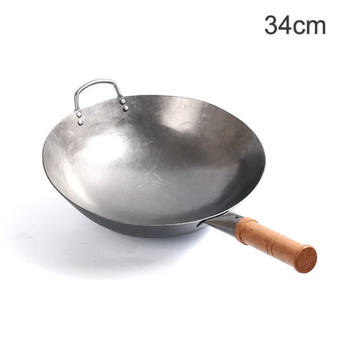 Wooden Handle Non-stick Wok Gas Cooker Pan