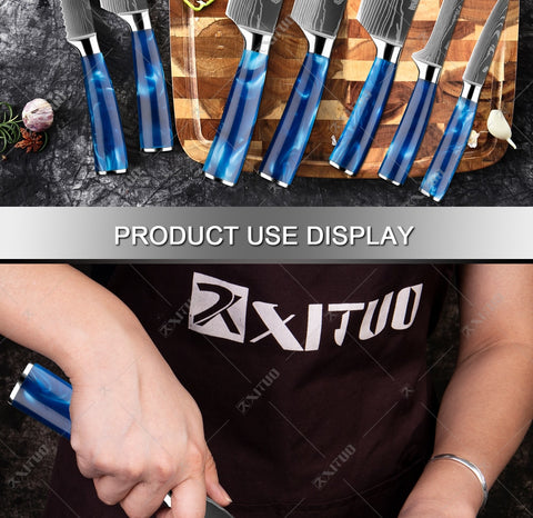 XITUO kitchen knives Set Exquisite blue resin handle Laser Damascus pattern Chef knife Santoku Cleaver Slicing Knives Best Gift