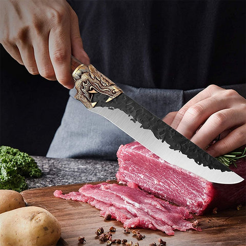 Image of Little Cook Handmade Kitchen Chef Knife Fixed blade Sharp meat Sashimi Knives Chinese cleaver Vegetable cutter Cooking Tools