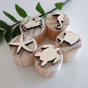 Natural Wooden Sea Animals Play Dough Stamps