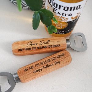 Father's Day Engraved Wooden Bottle Opener