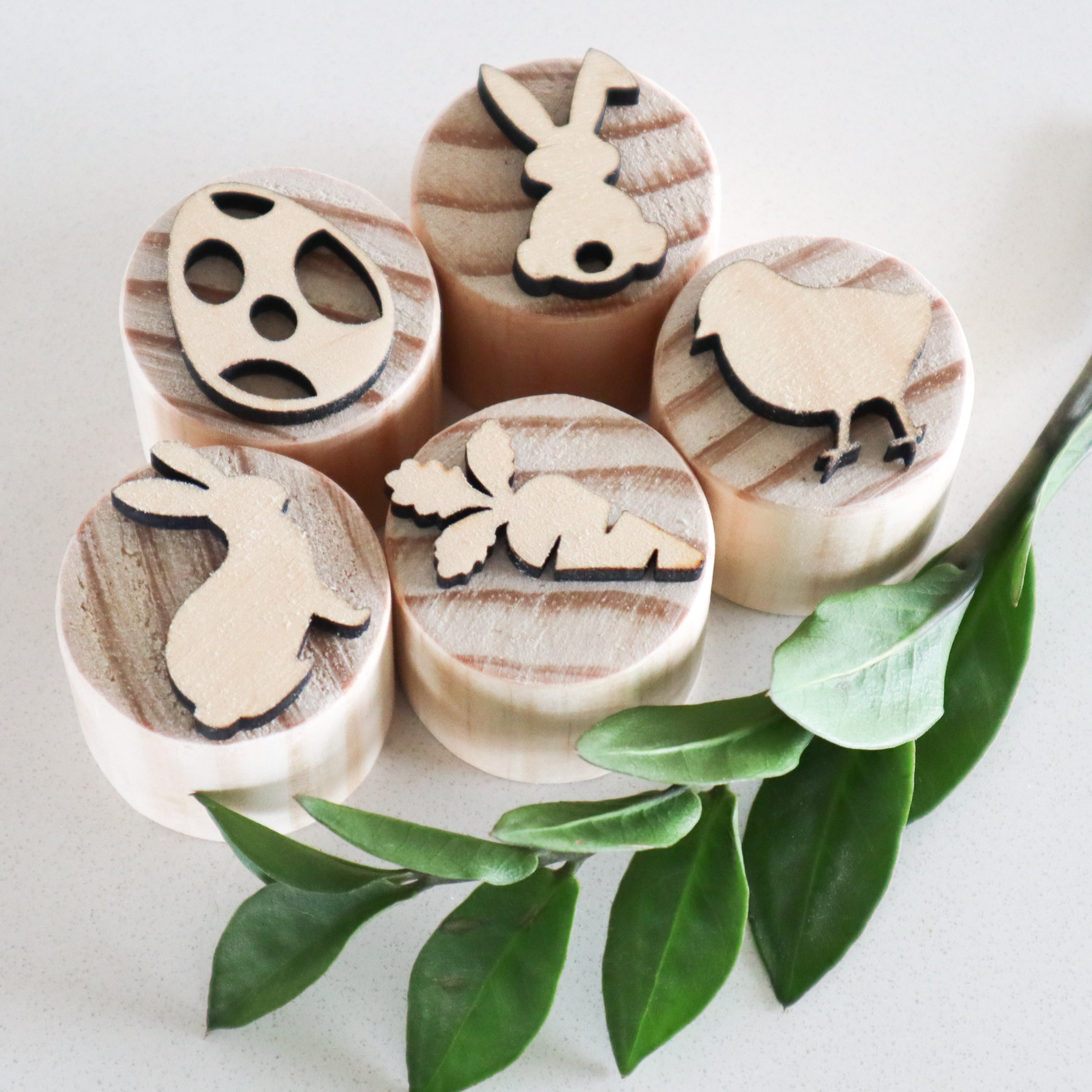 Wooden Easter Play Dough Stamps