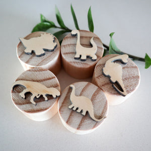 Wooden Dinosaur Play Dough Stamps