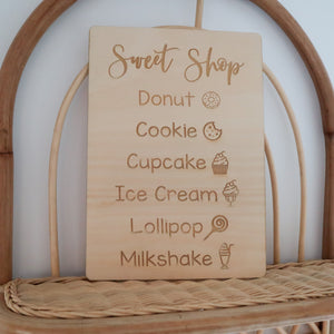 Sweet Shop Sign|  Kitchen Menu Sign| Play Cafe Sign| Playroom Decor
