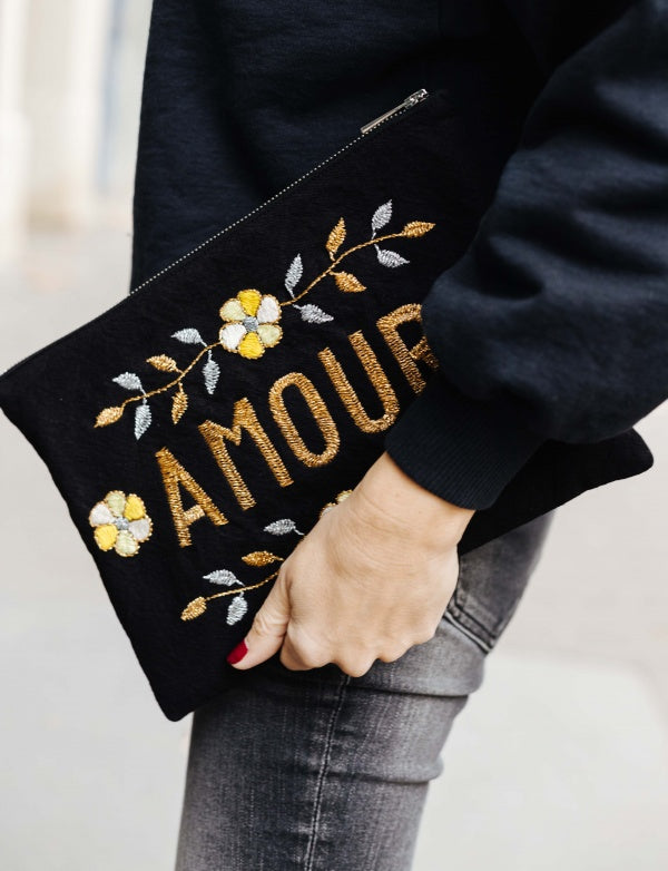 Maison Marcel Embroided Amour Clutch CSAO