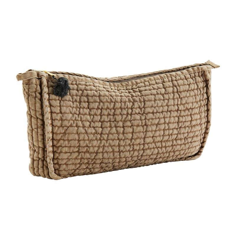 Maison Marcel Madam Stoltz Quilted Linen Large Pouch Olive & Brown