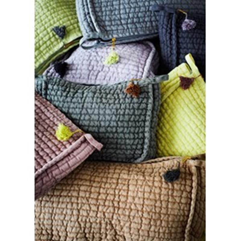 Maison Marcel Madam Stoltz Quilted Linen Olive & Brown Large Pouch
