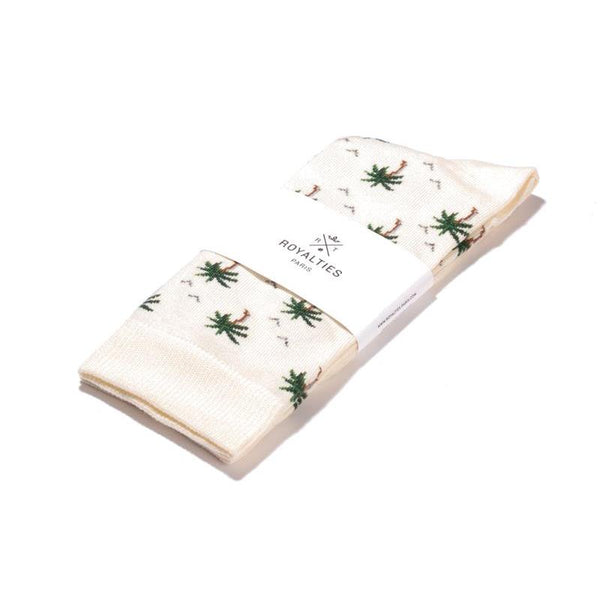 Maison Marcel Royalties Socks Palm Trees Ivory
