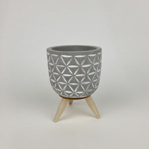 Small Concrete Plant Pot on Wood Legs - Triangle Pattern