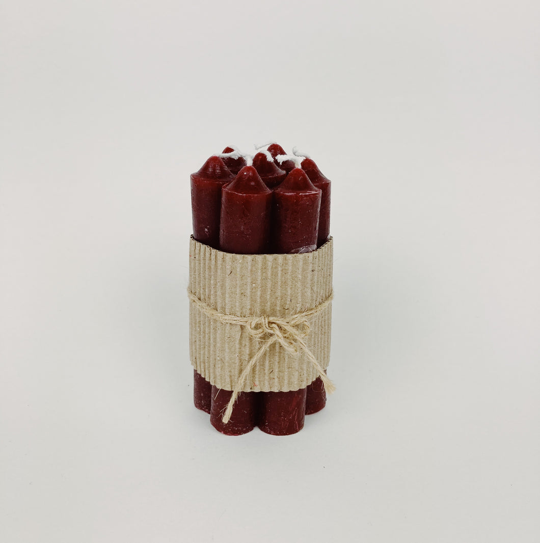Short Pillar Candles - pack of 7 - Burgundy Red