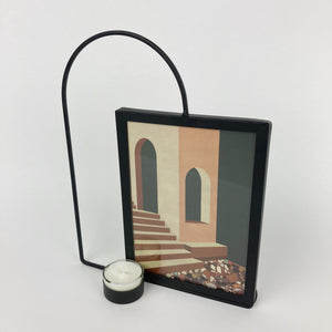 Black Metal Arch Photo Frame with Tealight Holder