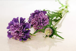 silk mauve scabious with two dainty flowers and a small