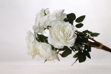 Load image into Gallery viewer, Stunning bunch of  ivory artificial Hybrid tea roses