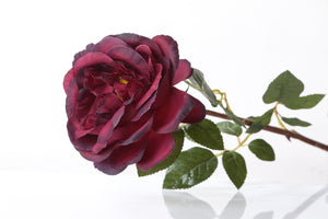 Stunning artificial dark red Old English rose bud