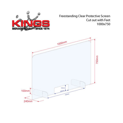 Clear Protective Screen - 1000mm x 750mm