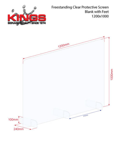 Clear Protective Screen - 1200mm x 1000mm Blank