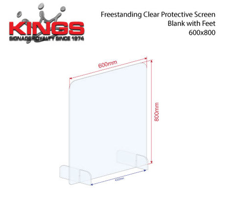 Clear Protective Screen - 600mm x 800mm Blank