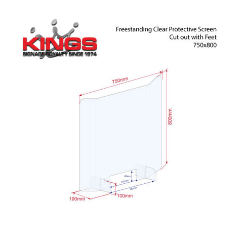 Clear Protective Screen - 725mm x 800mm Bent