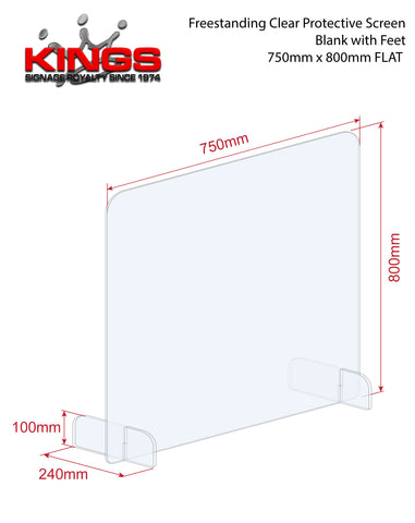 Clear Protective Screen - 750mm x 800mm Blank