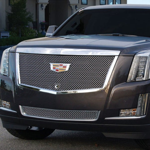 E&G 2015i-2018 CADILLAC ESCALADE CHROME HEAVY MESH BUMPER GRILLE ADAPTIVE CRUISE - LOWER - 1009-050L-15HAC