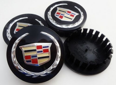 "CADILLAC 2 5/8TH"" OEM CHROME WREATH AND CREST BLACK CENTER CAPS SET OF 4"