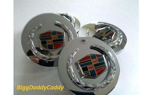 "CADILLAC 2 5/8TH"" CHROME FACTORY STYLE CENTER CAPS SET OF 4"